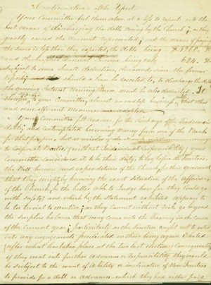 Draft of Trustees' report (April 13, 1812) suggested layoffs or decrease in clergy salary to combat the church's growing debt