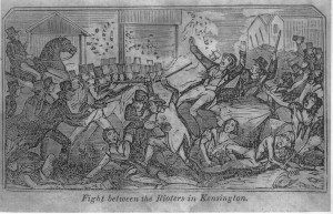 "Engraving of the ""Rioters in Kensington"" from A Full and Complete Account of the Late Awful Riots in Philadelphia Philadelphia: John B. Perry, 1844"