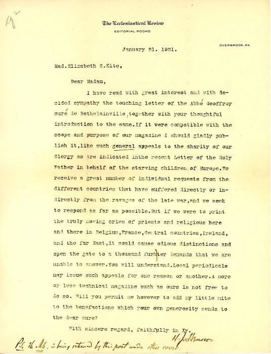 Letter from Heuser