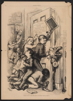 "Tilden's ""Wolf at the Door, Gaunt and Hungry."" Don't let him in http://omeka.pahrc.net/items/show/7367"